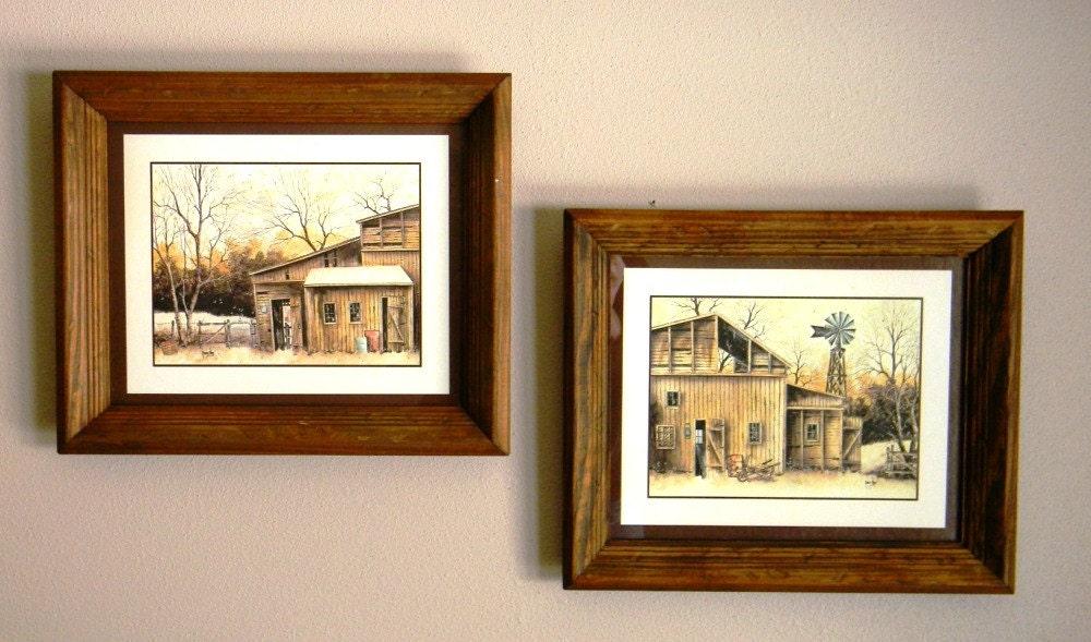 Rustic Barn Scene Framed Artwork Pair By Robert Nidy Vintage