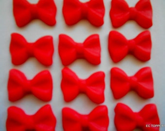 24 Fondant Bow Cupcake/Cookie Toppers