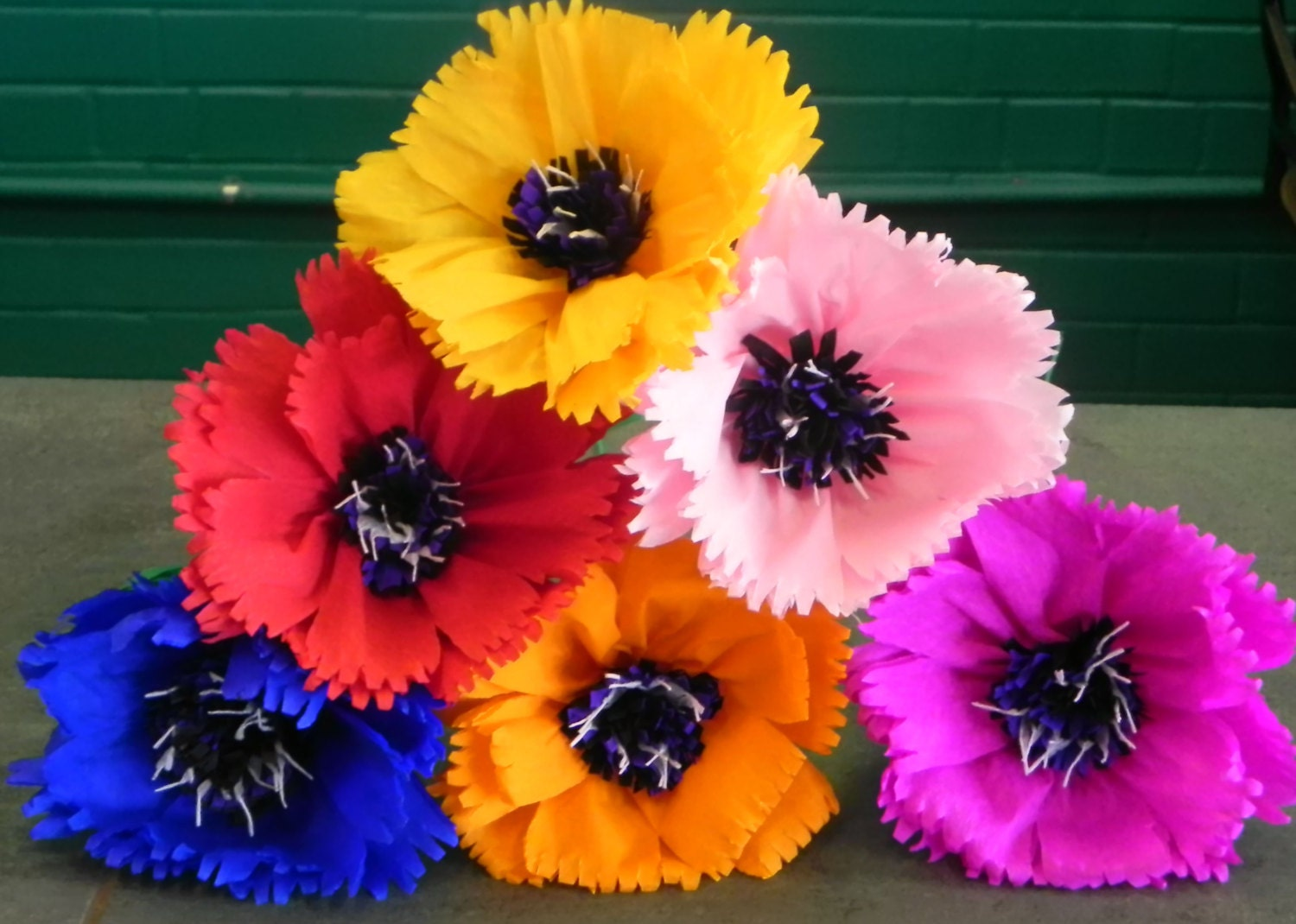 Mexican Crepe Paper Flowers Set of 6 Multicolor