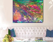 abstract print on canvas, modern abstract painting, fairy art print, night painting, fairy tale wall decor, colorful, pink, green, purple
