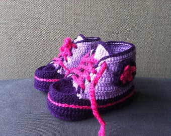 Baby Sneakers Baby Booties  Crochet Flower shoes Baby girl shoes - violet and dark violet