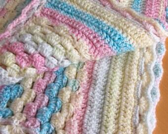 Lovely multi-pastel baby blanket - for a boy or girl