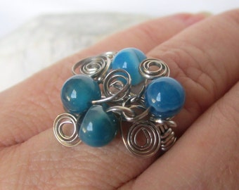 Steel ring turquoise agate