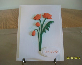 Elegant Orange Poppy Sympathy Card