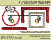Theatre Stage Drama Borders and Frames DIGITAL CLIP ART -  Instant Download for scrapbooking, paper crafts, cards, invitations