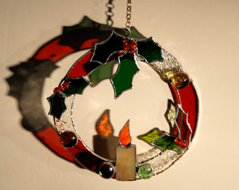 Stained glass Christmas decoration - Wreath