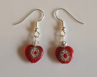Red glass drop earrings