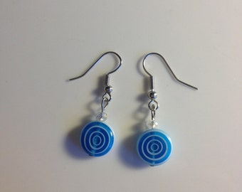 Ocean blue & white glass drop earrings