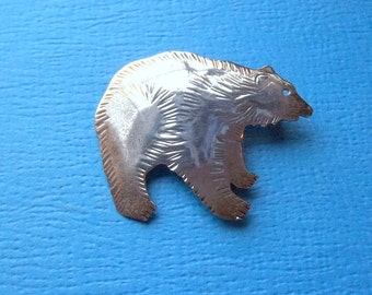 STERLING BEAR BROOCH Pin Vintage Silver Signed cnl Grizzly Bear Jewelry