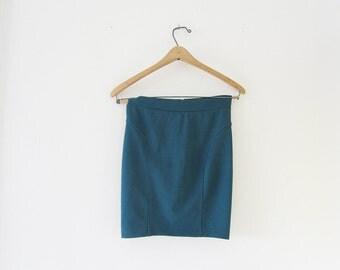 turquoise high waisted mini skirt
