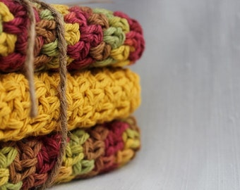 Cotton Crocheted Dishcloths, Fall Decor, Autumn Colors, Gifts Under 20.00,