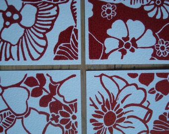 Red Flowers - set of 4 single cards with original lino print