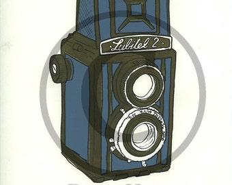 Screenprint of Lubitel 2 TLR Camera - Four Layer Screenprint, Dark Green-Brown/Light Blue on White Sketching Paper