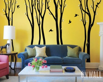 Large birch tree decal, nursery birch decal, tree wall decal, 9  Birch Trees, Vinyl Wall Decal bird stickers MM002