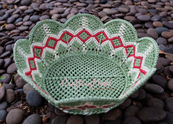 Handmade Nylon Basket : Medium sz macrame basketnylon rope flower shapehandmade