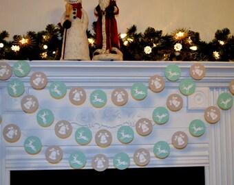 Paper garland,  Christmas Garland 10 feet - Reindeer and Bell garland Christmas Decoration Neutral Christmas Decor