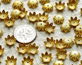9mm Raw Brass Stamping Filigree Bead Caps Embellishment Finding rbc13(40pcs)