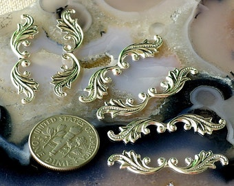 30mm Silver Plated Brass Filigree Wing Embellishment Leaf Shaped Stamping rbp22s(30pcs)