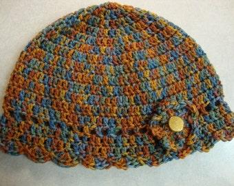Lady's Beanie with crochet flower