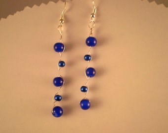 Sterling Silver Wire Wrapped Earrings - Blue Pearls and Lapis Gemstones
