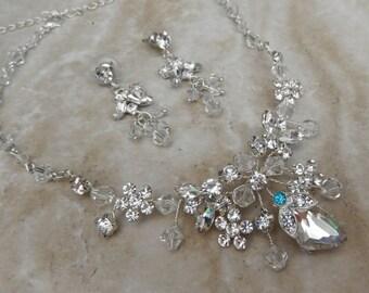 Swarovski crystal and rhinestone something blue necklace and earring set.