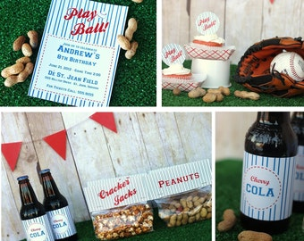 Retro Baseball Party Printable Set Vintage Style