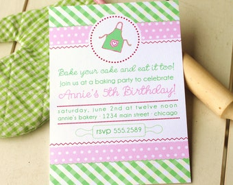 Baking Party Printable Invitation pink and green