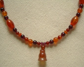 handmade necklace based on Egyptian example / carnelian & garnet