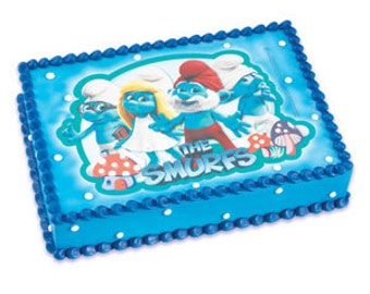 The Smurfs #2 Edible Image Cake Topper Birthday Party Supplies