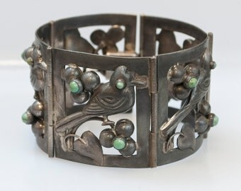 Vintage Mexico Sterling Silver & Turquoise Link Bracelet