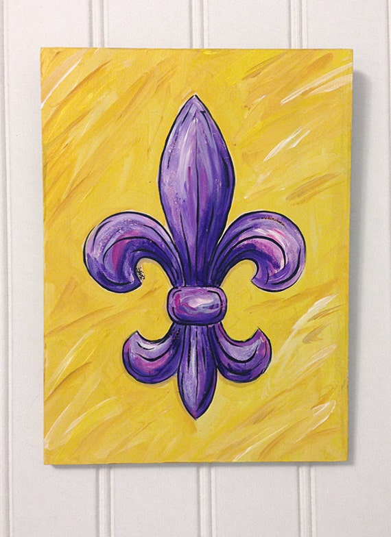 Purple and Gold Fleur de Lis painting