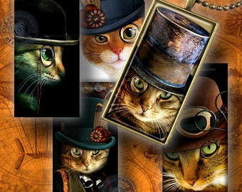 Steampunk Cat - Digital Collage Sheet CG-556R - 1x2 inch and 15x30mm tiles - for Scrapbooking, Jewelry Making, Arts and Crafts