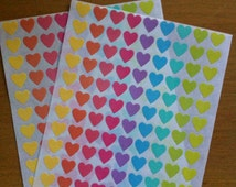 Heart stickers - Pastel Colors -  12 mm - 2 sheets - 216 pcs - scrapbooking/color coding/gift packaging