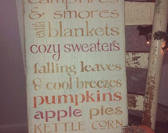Primitive Fall Autumn Subway Art Typography Sign