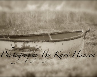 5x7 Soft Focus Moody Mysterious Bog Abandoned Rowboat Fine Art Photography Boat Nautical Sepia Wall Art