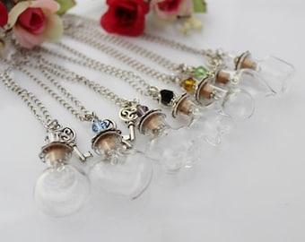 1pc 20x20MM DIY Empty Bottle Necklace,Wish Necklace,Glass Bottle Wish Necklace,Make a Wish Glass Orb Pendant,Vial Necklaces GGJ-GJN-015(B)