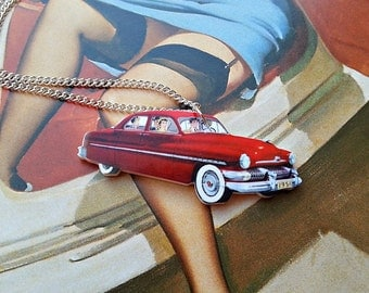 American Car acrylic charm necklace (16 or 18 inch chain)