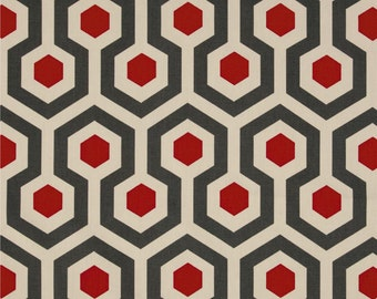 Premier Prints Magna Timberwolf Red and Natural - 1 Yard - Red and Natural Geometric Fabric