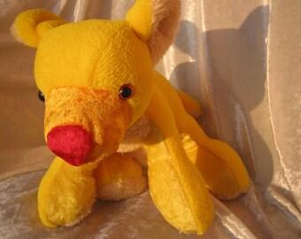 Sunshine TEDDY BABY shower, yellow bear with red nose, soft Toy Bear stuffed Animal, handmade bear plushie yellow, nursery decor bear toy