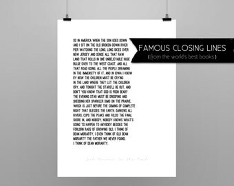 ON THE ROAD // Jack Kerouac // quote poster // Select a Size // black and white // last lines from Jack Kerouac's  On The Road