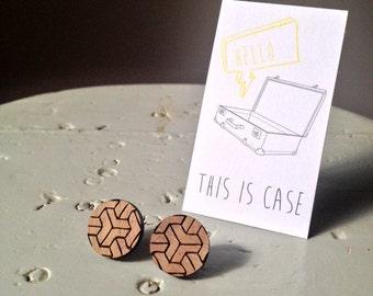 Kick It To The Kirby laser cut walnut timber earrings