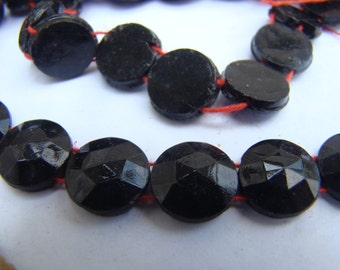 Antique Victorian jet black glass 2-hole nailheads beads - 12 mm 4 strands (24 per strand)