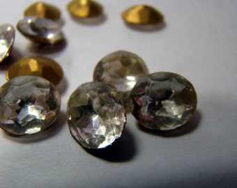 Vintage oval clear gold-foil rhinestone crystals - 9X12mm - 10 pieces