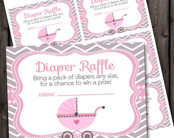 Baby shower raffle tickets, baby girl, carriage, INSTANT DOWNLOAD