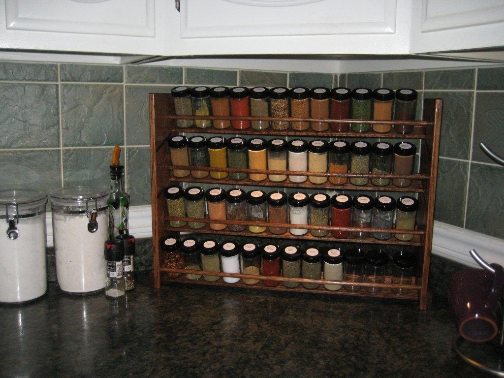 decorative spice rack with jars handmade 48 jar capacity
