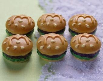 6 Pcs Yummy Burger Cabochons - 19x10mm