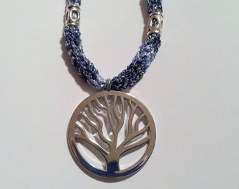 "Silver Tone Tree Of Life Pendant On Knitted Icord Necklace With Accents 21"" Blue Sparkle"