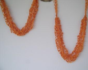 Pumpkin Orange Ladder Trellis Yarn Necklace