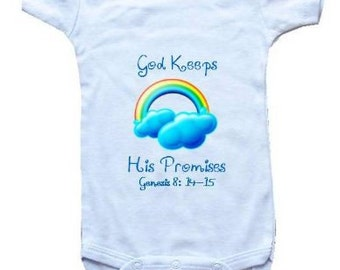 Baby One-Piece Bodysuit-Personalized Gifts-Christian Baby Gifts-God Keeps His Promises BLUE RAINBOW - White, Blue or Pink