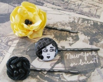 Flapper Girl Hairpins , Yellow Flower Hair Pin, Flower Bobby Pin - Set of 3